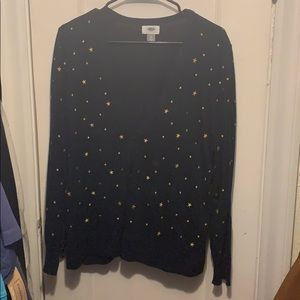 Navy Blue Cardigan with Gold Stars